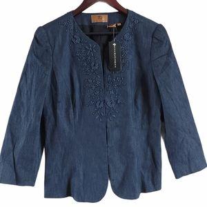 Dana Buchman Denim jacket embroidered puff sleeves